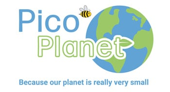 Pico planet logo - image of earth and a bee with strapline