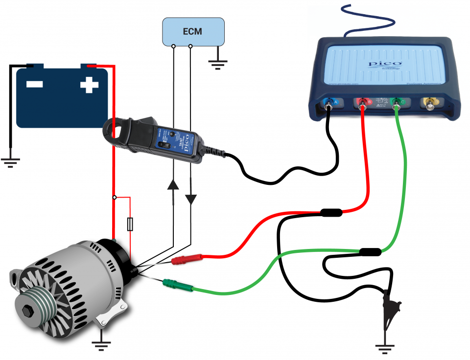 how to connect an alternator to charge a battery