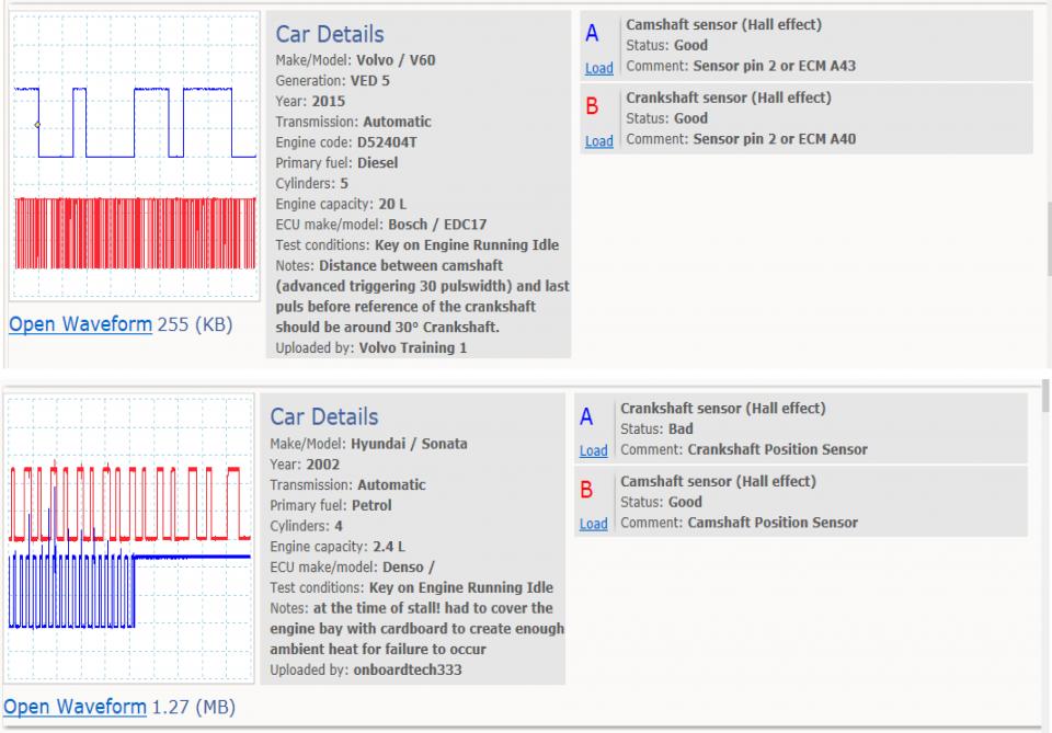 Crankshaft position sensor (Hall effect) - running