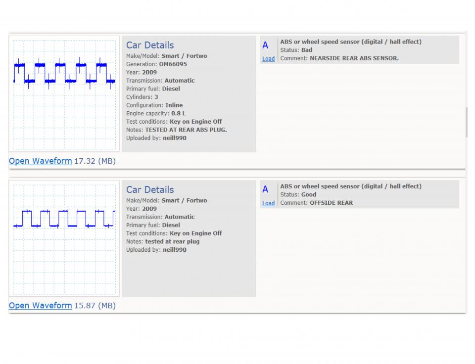 ABS wheel speed sensor (digital) - voltage
