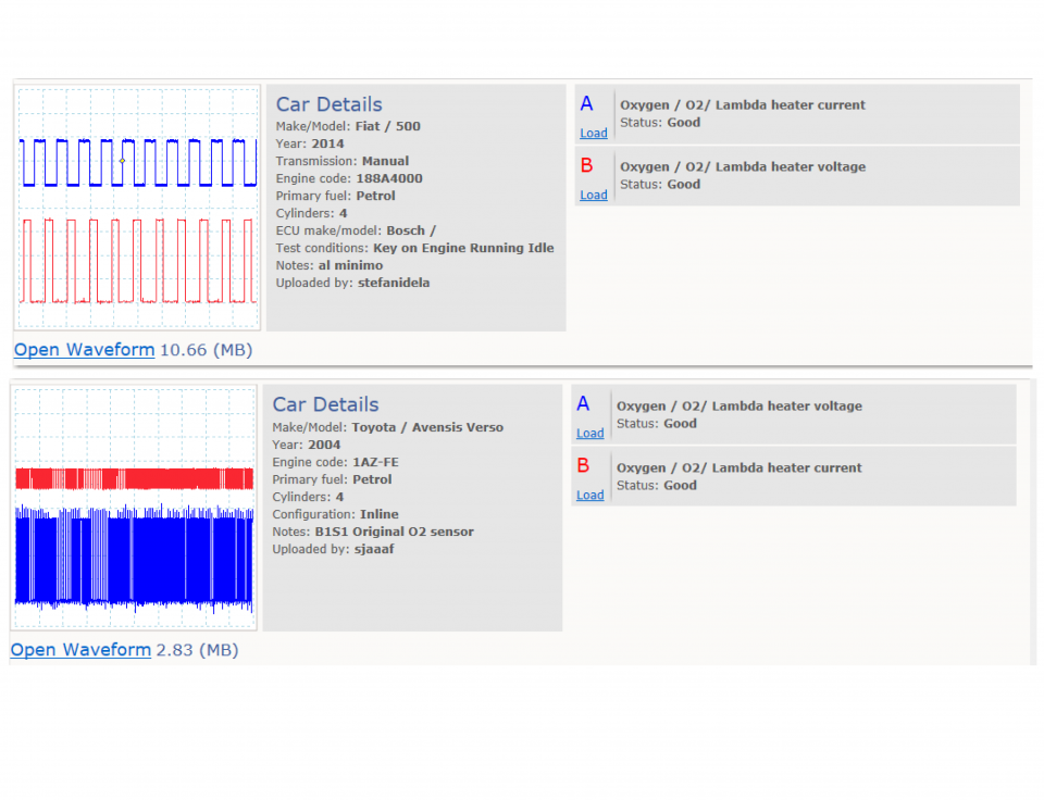 Lambda sensor - heater current and signal voltage
