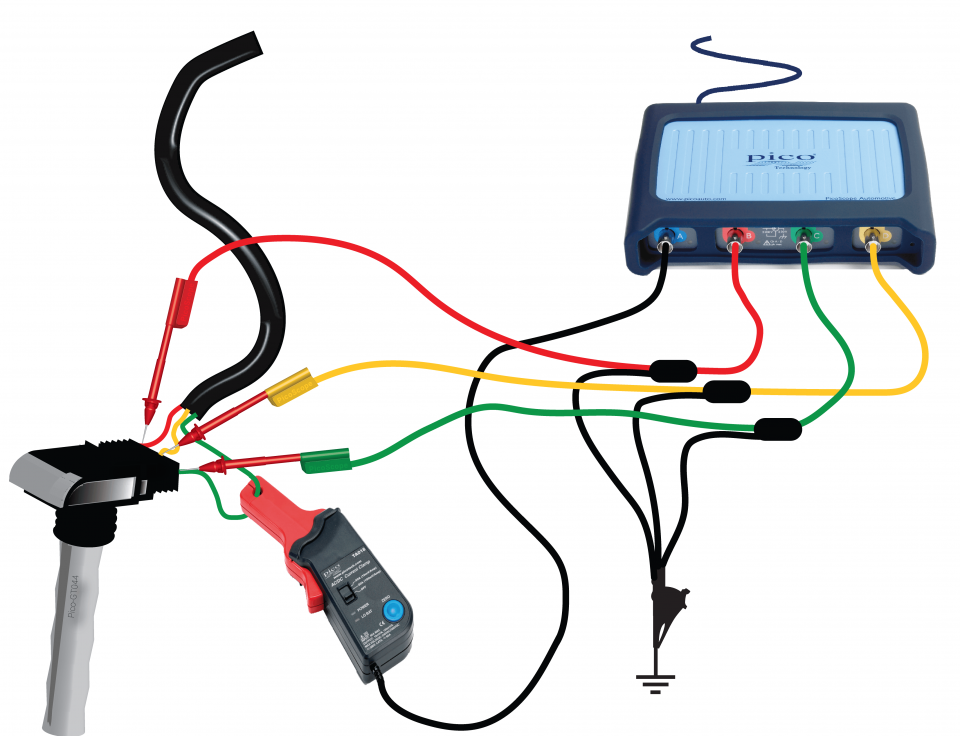 Coil-on-plug primary voltage and current (3-wire) on wire clip testing, wire cable testing, throttle body testing, seat belt testing, wire rope testing,