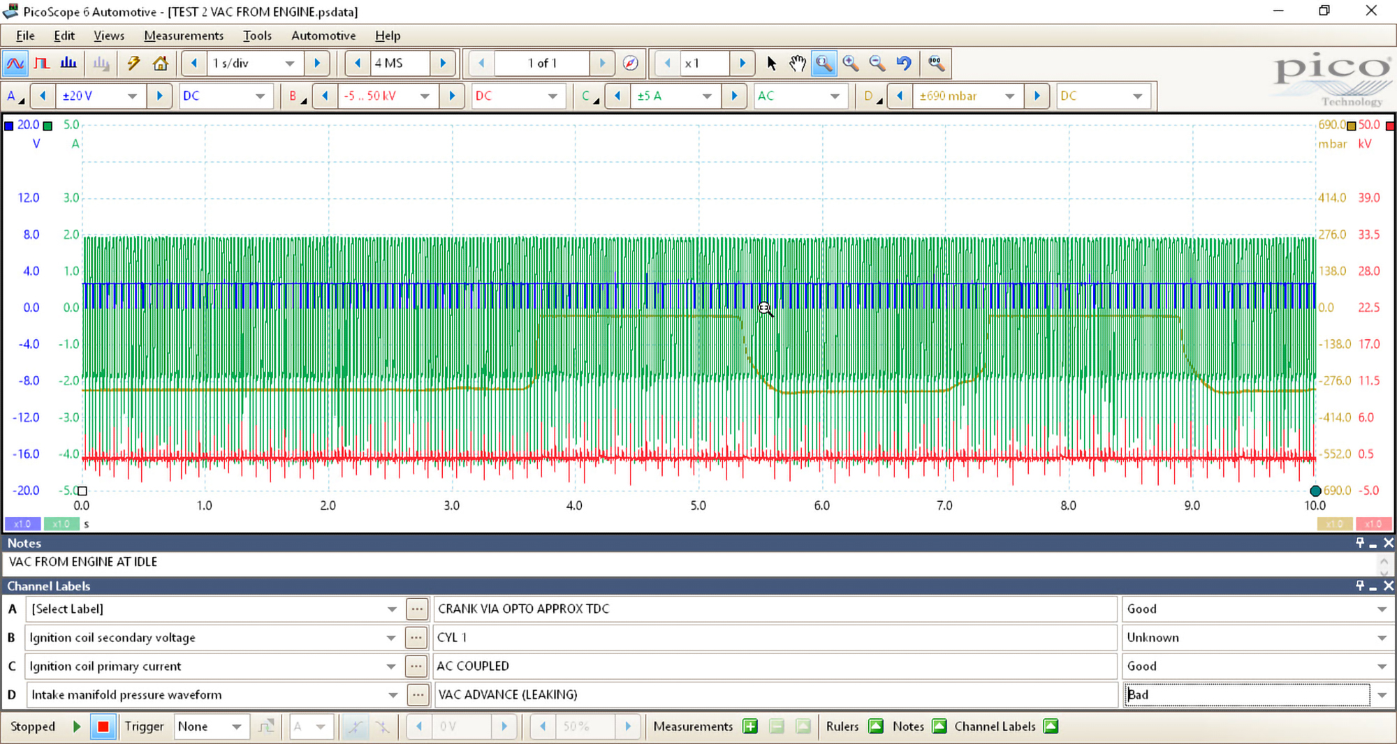 A screenshot of PicoScope 6 Automotive showing all the raw data captured.