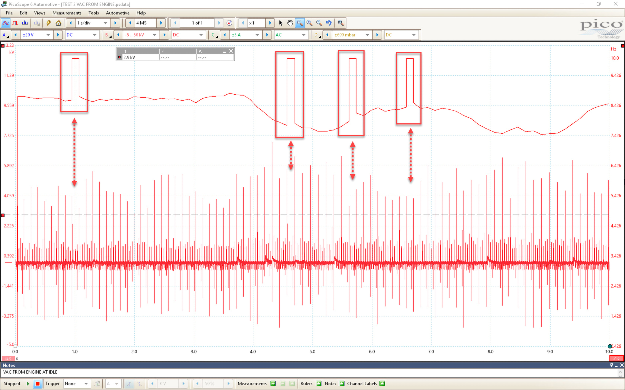 Screenshot from PicoScope 6 Automotive illustrating the timing frequency.
