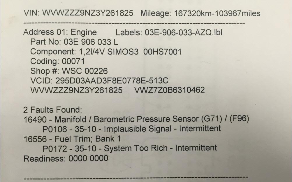 vw p1103 fault code p0172