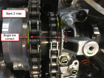 Photo of Bank 2 inlet camshaft timing alignment.