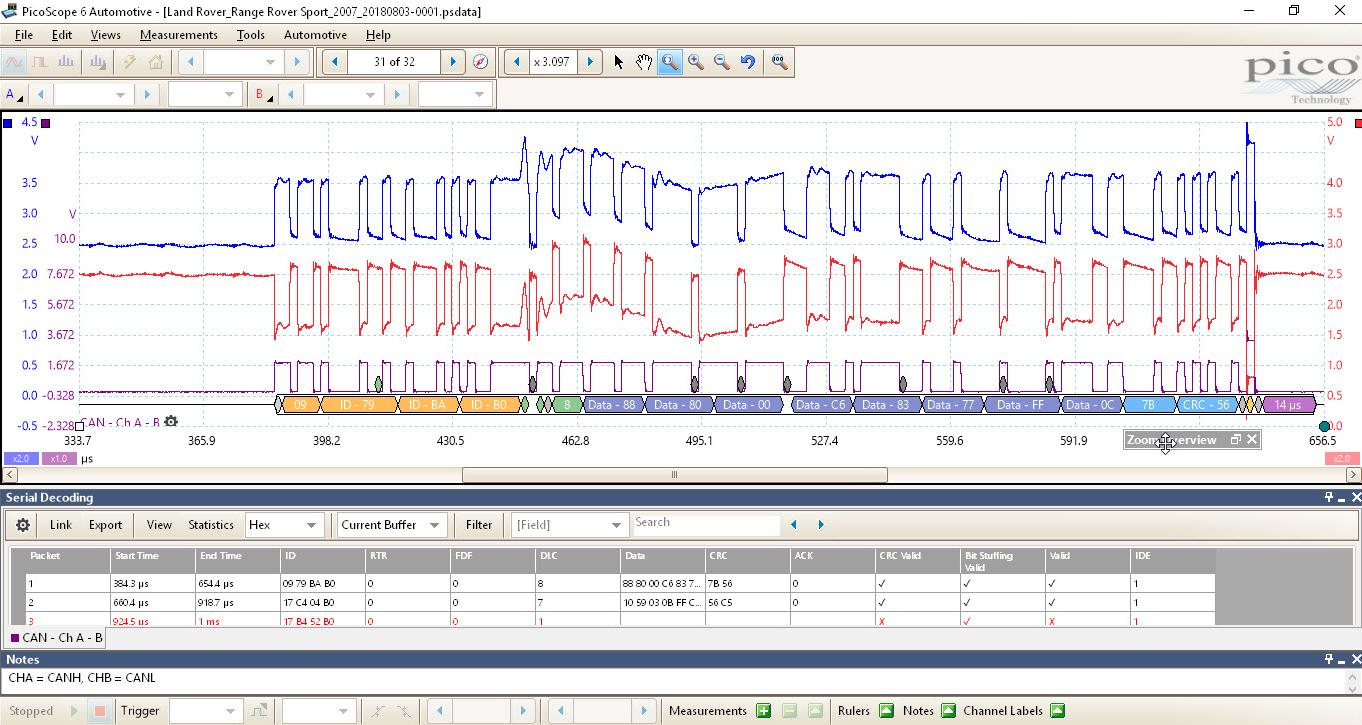 Screenshot showing crossing point drift