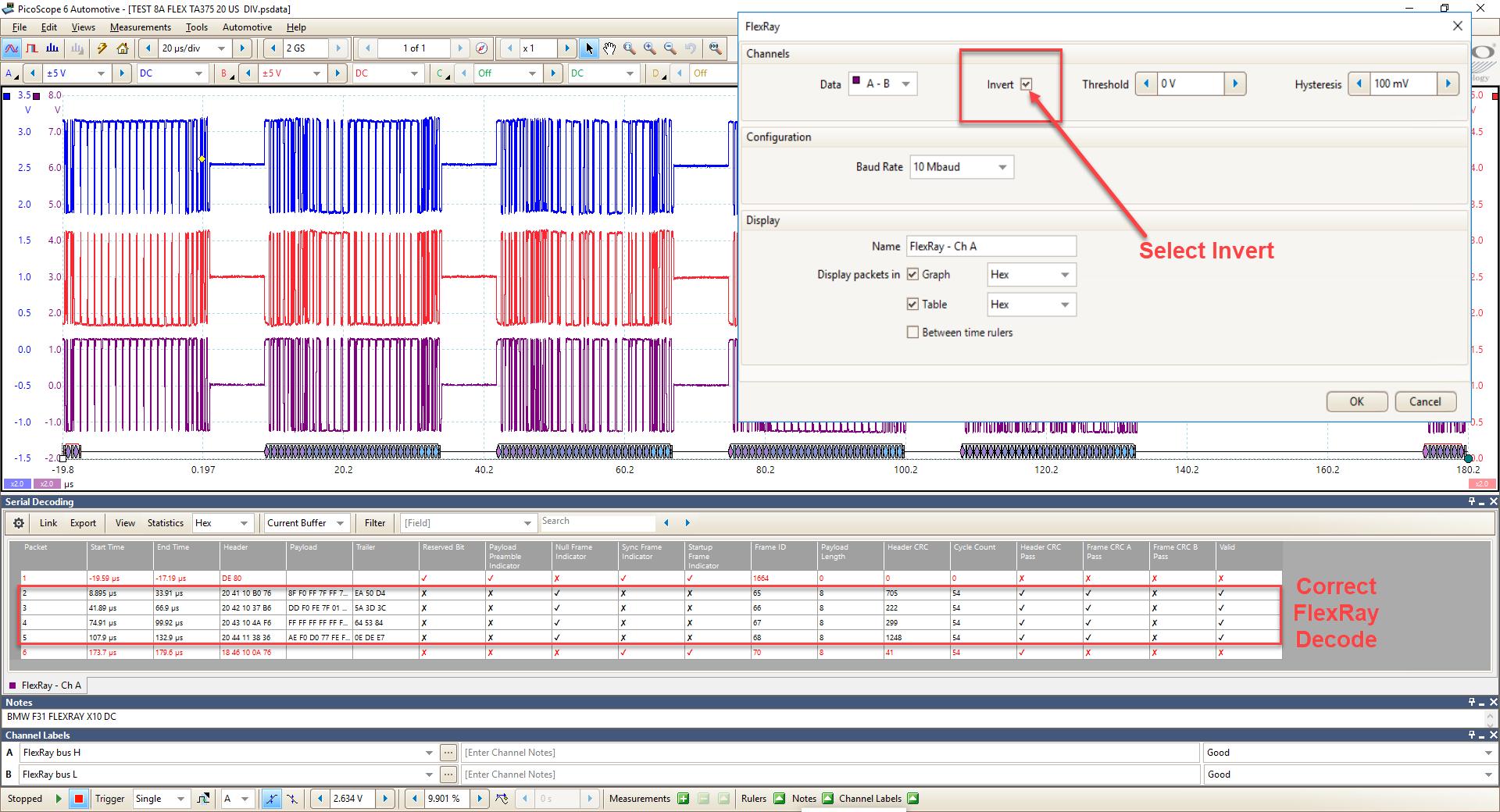 Screenshot of FlexRay decode