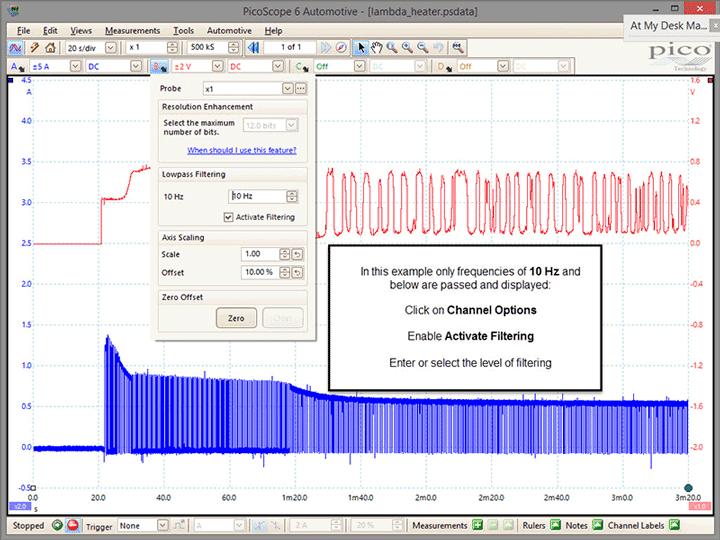O2 sensor noise filtered
