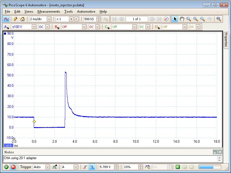 Motorcycle fuel injector voltage  Labscope waveform