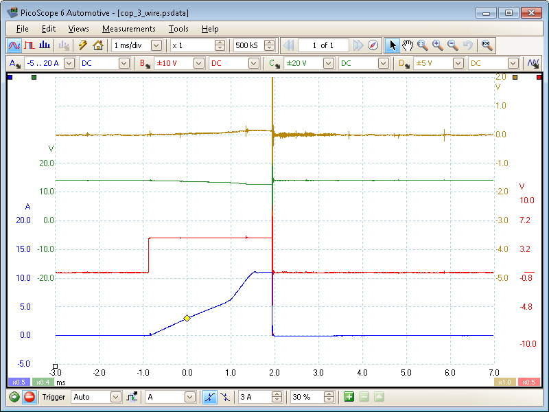 Coil-on-plug primary voltage and current (3-wire) waveform