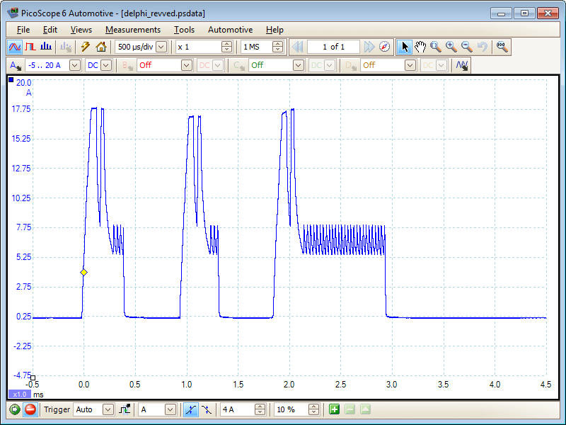 Delphi Injector Revved waveform