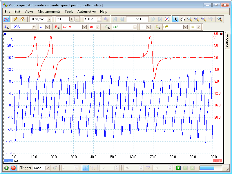 Motorcycle speed sensor waveform