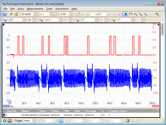 crankshaft revolutions waveform